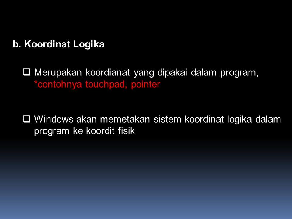 b.Koordinat Logika  Merupakan koordianat yang dipakai dalam program, *contohnya touchpad, pointer  Windows akan memetakan sistem koordinat logika da
