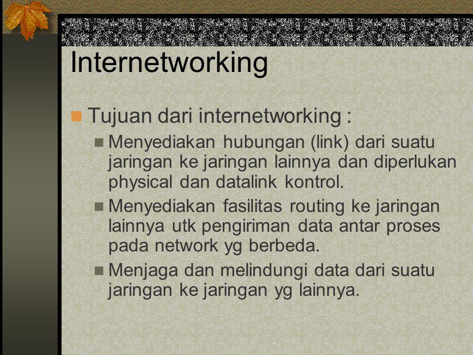 Internetworking Tujuan dari internetworking : Menyediakan hubungan (link) dari suatu jaringan ke jaringan lainnya dan diperlukan physical dan datalink kontrol.
