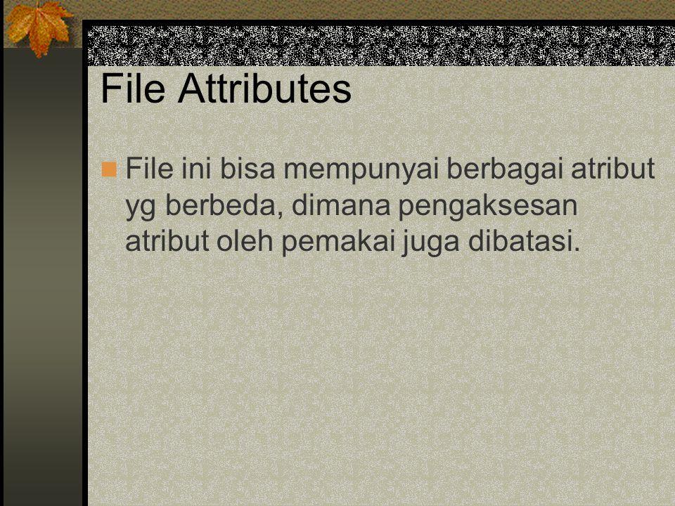 File Attributes File ini bisa mempunyai berbagai atribut yg berbeda, dimana pengaksesan atribut oleh pemakai juga dibatasi.