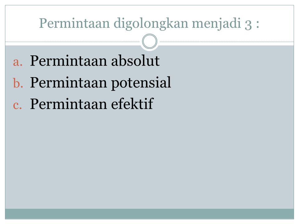 Permintaan digolongkan menjadi 3 : a.Permintaan absolut b.