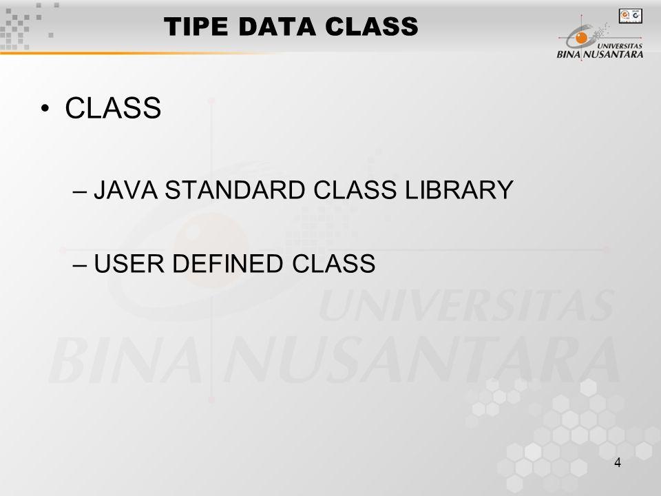 4 TIPE DATA CLASS CLASS –JAVA STANDARD CLASS LIBRARY –USER DEFINED CLASS