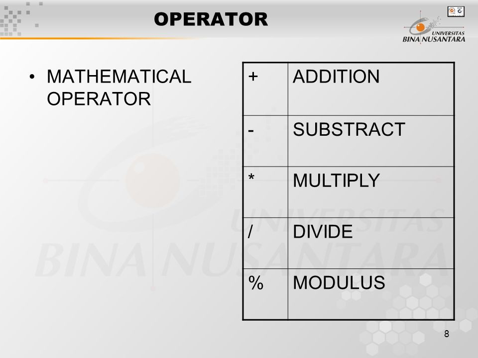 8 OPERATOR MATHEMATICAL OPERATOR +ADDITION -SUBSTRACT *MULTIPLY /DIVIDE %MODULUS