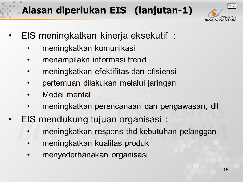 15 Alasan diperlukan EIS (lanjutan-1) EIS meningkatkan kinerja eksekutif : meningkatkan komunikasi menampilakn informasi trend meningkatkan efektifita