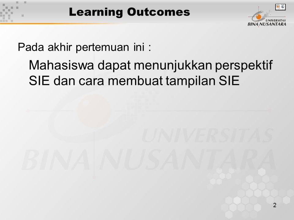 2 Learning Outcomes Pada akhir pertemuan ini : Mahasiswa dapat menunjukkan perspektif SIE dan cara membuat tampilan SIE