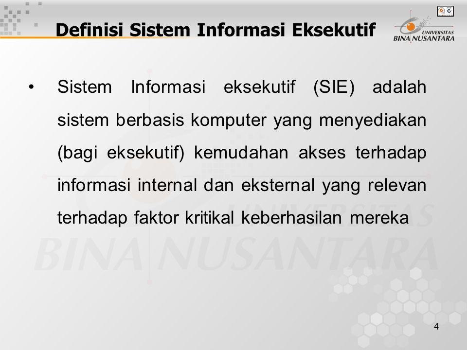 4 Definisi Sistem Informasi Eksekutif Sistem Informasi eksekutif (SIE) adalah sistem berbasis komputer yang menyediakan (bagi eksekutif) kemudahan akses terhadap informasi internal dan eksternal yang relevan terhadap faktor kritikal keberhasilan mereka