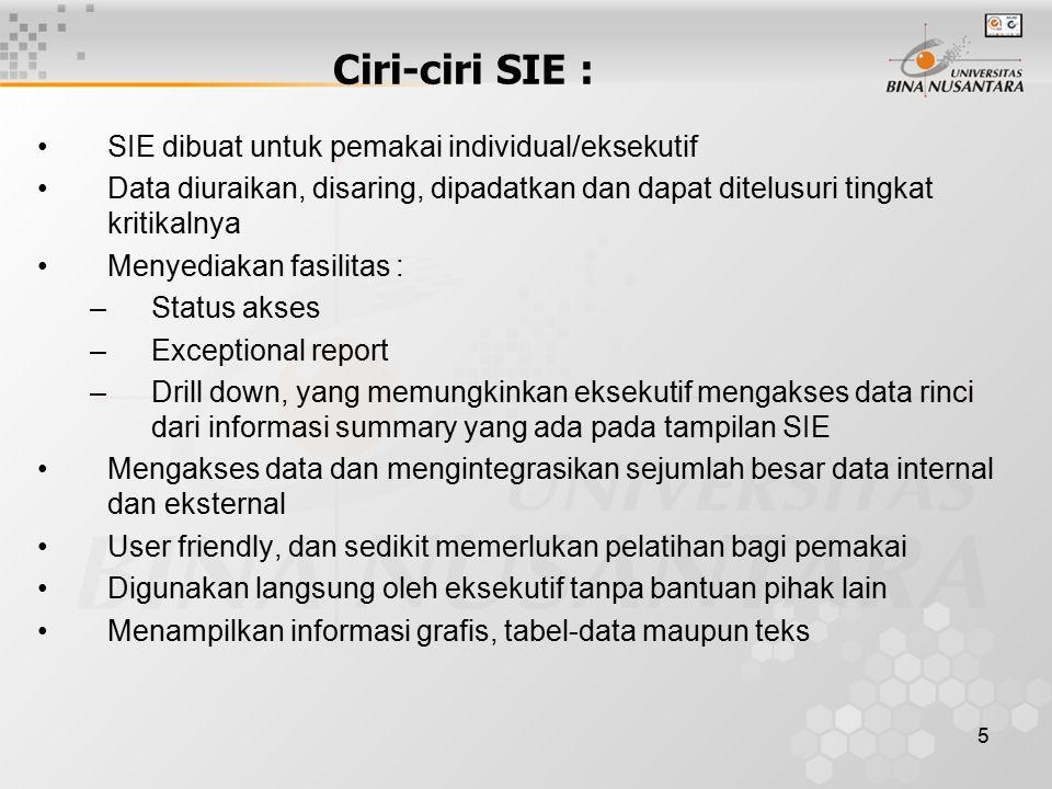 5 Ciri-ciri SIE : SIE dibuat untuk pemakai individual/eksekutif Data diuraikan, disaring, dipadatkan dan dapat ditelusuri tingkat kritikalnya Menyedia