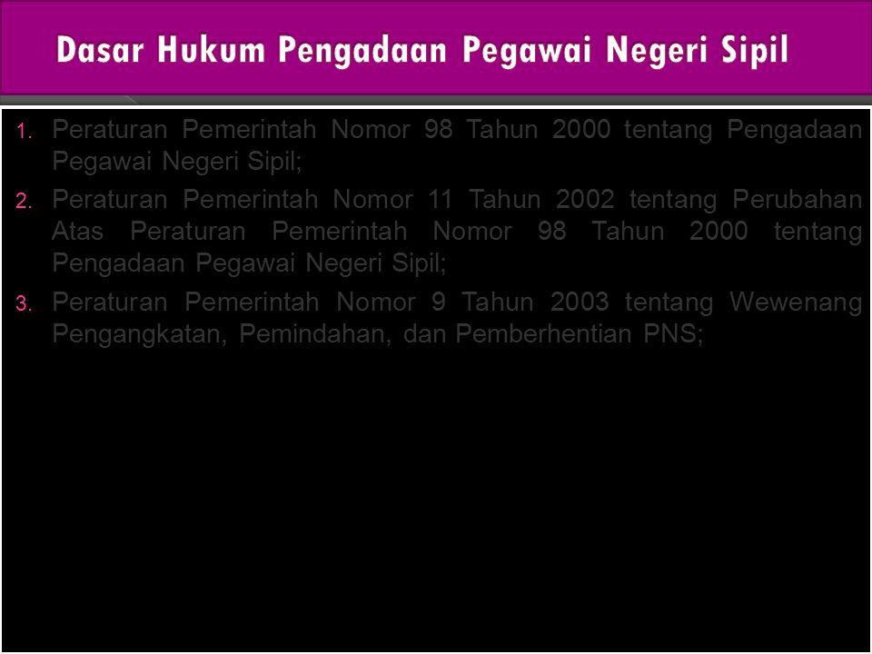 1. Peraturan Pemerintah Nomor 98 Tahun 2000 tentang Pengadaan Pegawai Negeri Sipil; 2. Peraturan Pemerintah Nomor 11 Tahun 2002 tentang Perubahan Atas