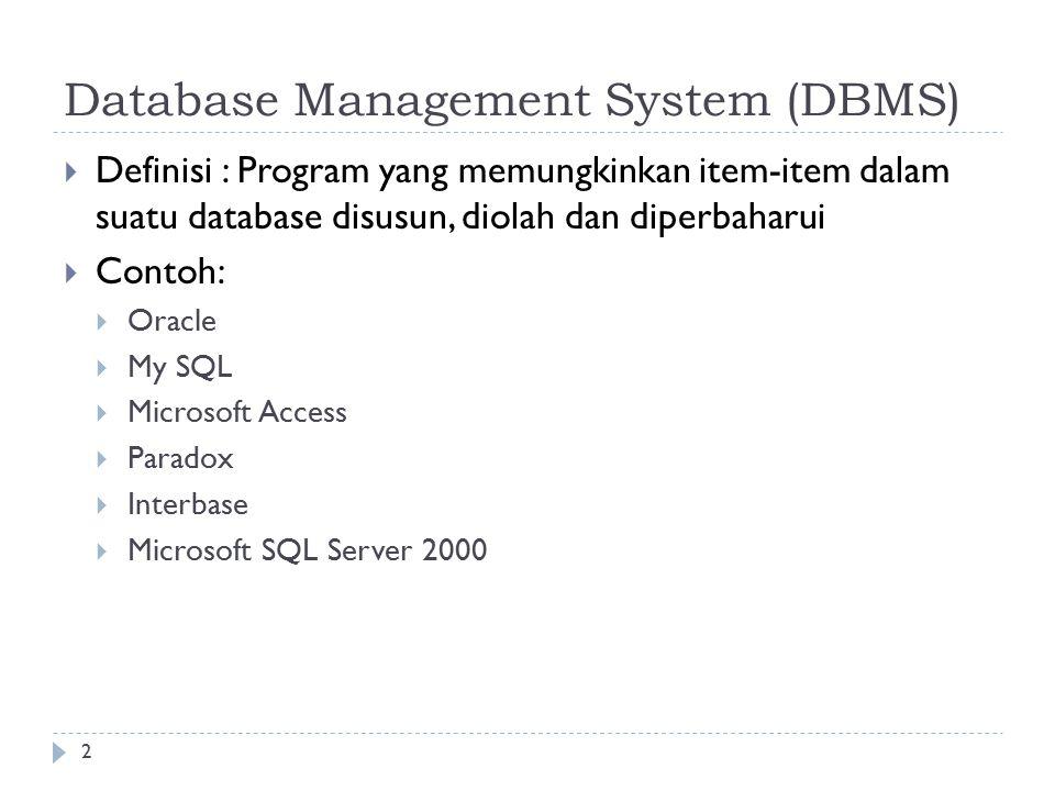 2 Database Management System (DBMS)  Definisi : Program yang memungkinkan item-item dalam suatu database disusun, diolah dan diperbaharui  Contoh:  Oracle  My SQL  Microsoft Access  Paradox  Interbase  Microsoft SQL Server 2000