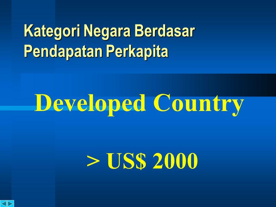 Kategori Negara Berdasar Pendapatan Perkapita Semi Developed Country US$ 200 - US$ 2000