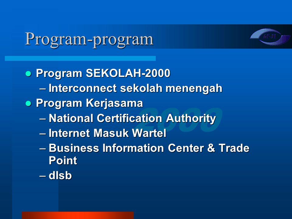 2000 Target Pengurus 1999-2002 Lima juta pemakai internet pada tahun 2002 (akhir periode kepengurusan) Lima juta pemakai internet pada tahun 2002 (akh