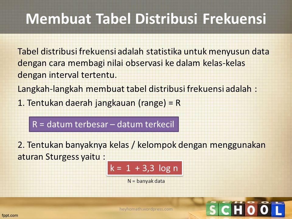 Membuat Tabel Distribusi Frekuensi Tabel distribusi frekuensi adalah statistika untuk menyusun data dengan cara membagi nilai observasi ke dalam kelas