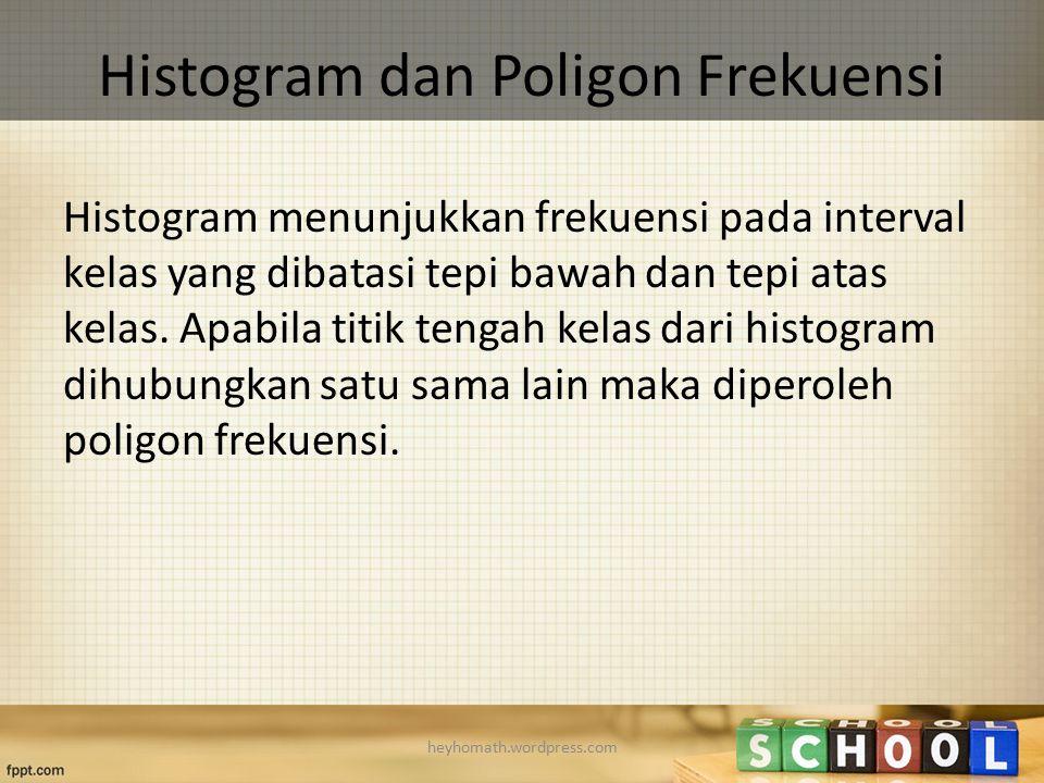 Histogram dan Poligon Frekuensi Histogram menunjukkan frekuensi pada interval kelas yang dibatasi tepi bawah dan tepi atas kelas. Apabila titik tengah