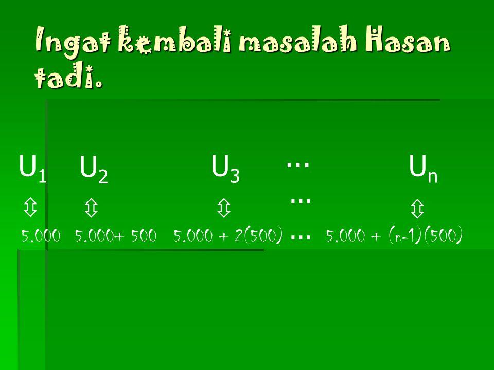 Bagaimana bentuk umum dari barisan aritmetika? G o o d... !