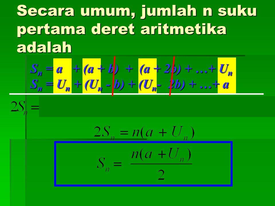 Tentukan jumlah bilangan bulat dari 1 sampai 100 S 100 = 1 + 2 + 3 +…+ 49 + 50 + 51 + 52 +…+ 98 + 99 + 100 2S 100 = 101+101+101+…+101+101+101+101+…+101+101+101 2S 100 = 100 (101) S 100 = 100 + 99 + 98 +…+ 52+51 + 50 + 49 +…+ 3 + 2 + 1