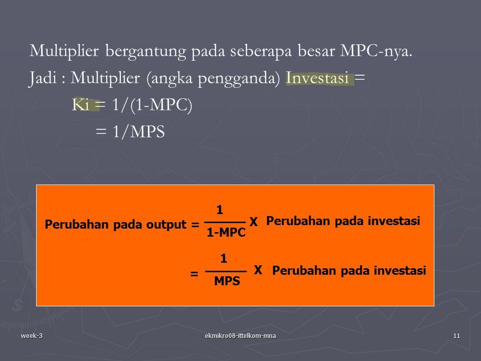 week-3ekmikro08-ittelkom-mna11 Multiplier bergantung pada seberapa besar MPC-nya. Jadi : Multiplier (angka pengganda) Investasi = Ki = 1/(1-MPC) = 1/M