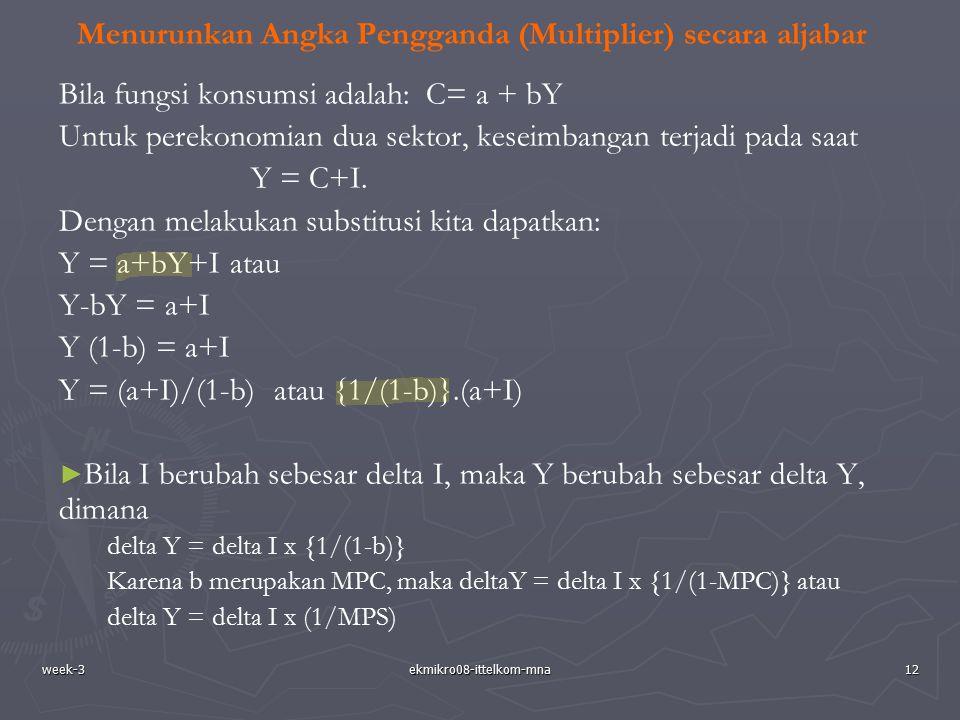 week-3ekmikro08-ittelkom-mna12 Menurunkan Angka Pengganda (Multiplier) secara aljabar Bila fungsi konsumsi adalah: C= a + bY Untuk perekonomian dua se