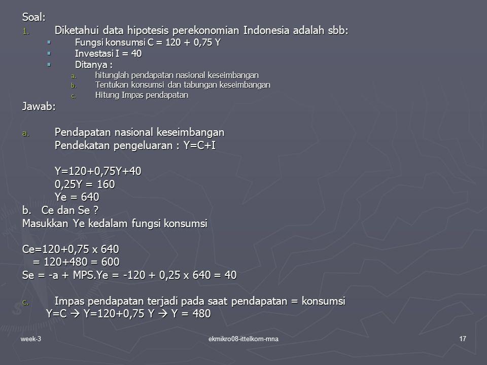 week-3ekmikro08-ittelkom-mna17 Soal: 1. Diketahui data hipotesis perekonomian Indonesia adalah sbb:  Fungsi konsumsi C = 120 + 0,75 Y  Investasi I =