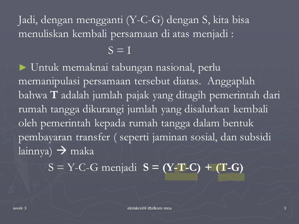 week-3ekmikro08-ittelkom-mna3 Jadi, dengan mengganti (Y-C-G) dengan S, kita bisa menuliskan kembali persamaan di atas menjadi : S = I ► ► Untuk memakn