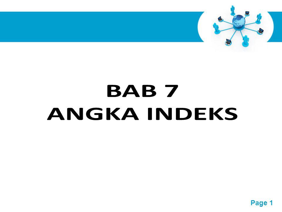 Free Powerpoint Templates Page 2 Pengertian Angka Indeks Angka Indeks atau sering disebut indeks saja, pada dasarnya merupakan suatu angka yang dibuat sedemikian rupa sehingga dapat dipergunakan untuk melakukan perbandingan antara kegiatan yang sama dalam waktu yang berbeda.