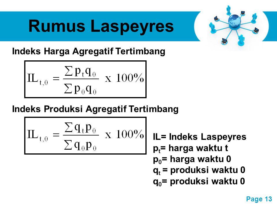 Free Powerpoint Templates Page 13 Rumus Laspeyres IL= Indeks Laspeyres p t = harga waktu t p 0 = harga waktu 0 q t = produksi waktu 0 q 0 = produksi w