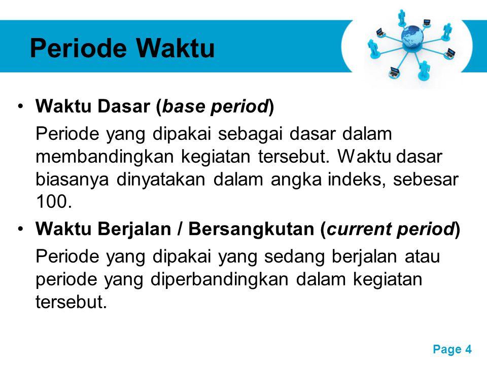 Free Powerpoint Templates Page 4 Periode Waktu Waktu Dasar (base period) Periode yang dipakai sebagai dasar dalam membandingkan kegiatan tersebut. Wak
