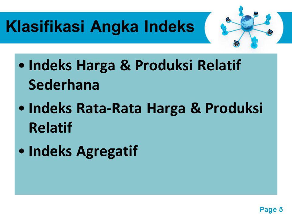 Free Powerpoint Templates Page 6 A.Indeks Harga dan Produksi Relatif Sederhana Indeks Relatif Sederhana ialah indeks yang terdiri dari satu macam barang saja, baik untuk indeks produksi maupun indeks harga.