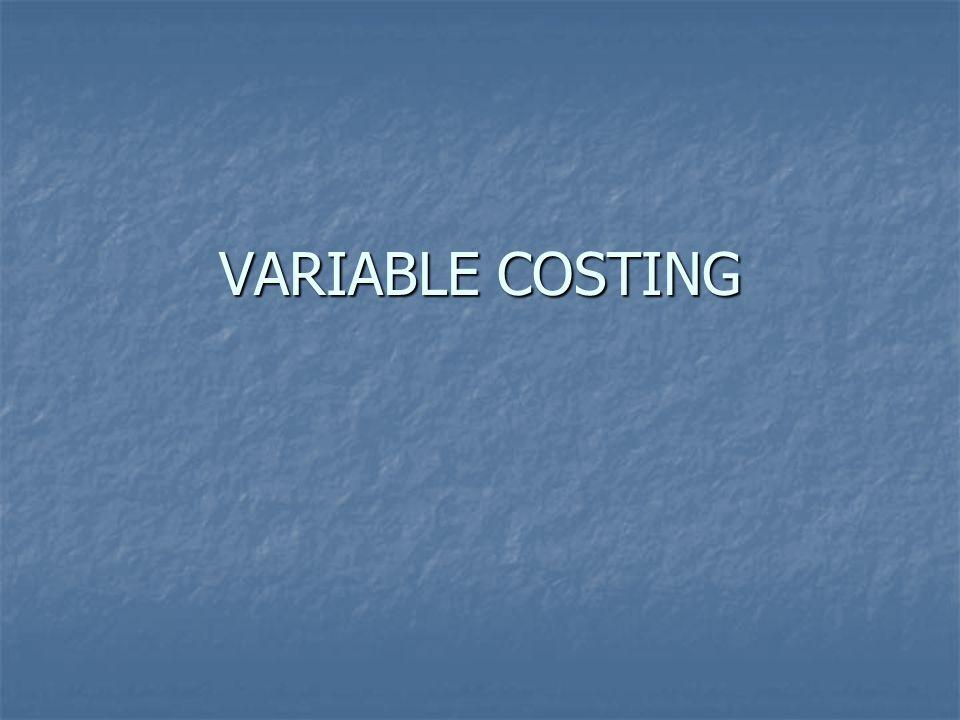 VARIABLE COSTING FOR PRICING PURPOSES Beberapa Manajer memahami adanya perbedaan dalam penetapan harga antara metode absorption & variable costing Beberapa Manajer memahami adanya perbedaan dalam penetapan harga antara metode absorption & variable costing Variable costing berdasarkan perilakunya dapat digunakan untuk penentuan harga dengan cara =( FC : Q) + VC/unit Variable costing berdasarkan perilakunya dapat digunakan untuk penentuan harga dengan cara =( FC : Q) + VC/unit Contoh :Biaya penerbangan satu pesawat terbang dengan 150 tempat duduk dari Jkt-Pdg dengan biaya tetap Rp.20.000.000,- ditambah biaya variabel 50.000,- /orang.