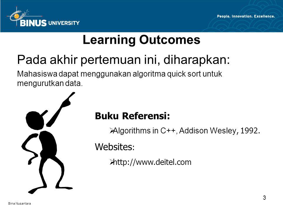 Bina Nusantara Learning Outcomes Pada akhir pertemuan ini, diharapkan: Mahasiswa dapat menggunakan algoritma quick sort untuk mengurutkan data. Buku R