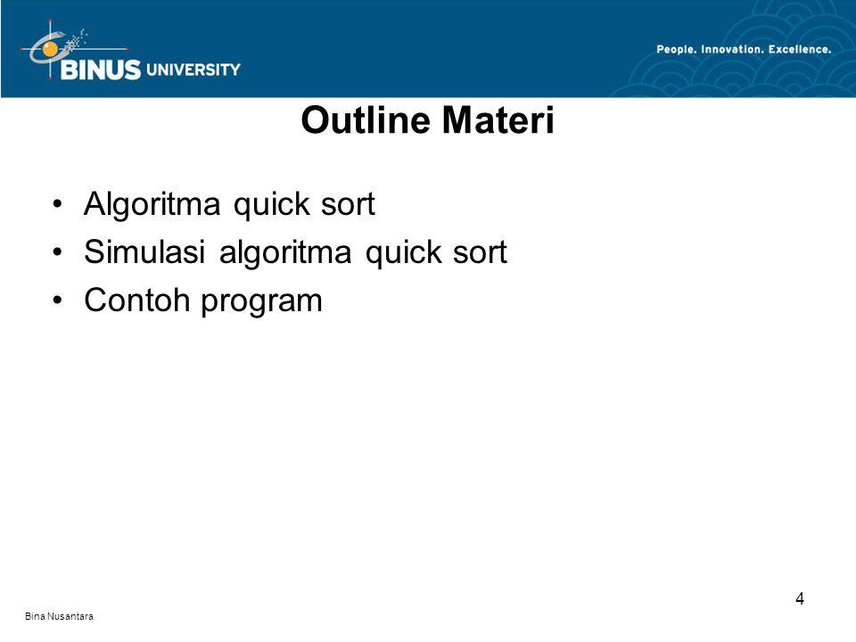 Bina Nusantara Outline Materi Algoritma quick sort Simulasi algoritma quick sort Contoh program 4