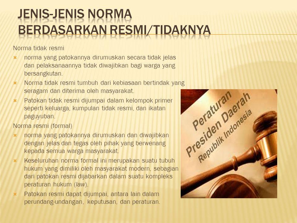 Norma tidak resmi  norma yang patokannya dirumuskan secara tidak jelas dan pelaksanaannya tidak diwajibkan bagi warga yang bersangkutan.  Norma tida