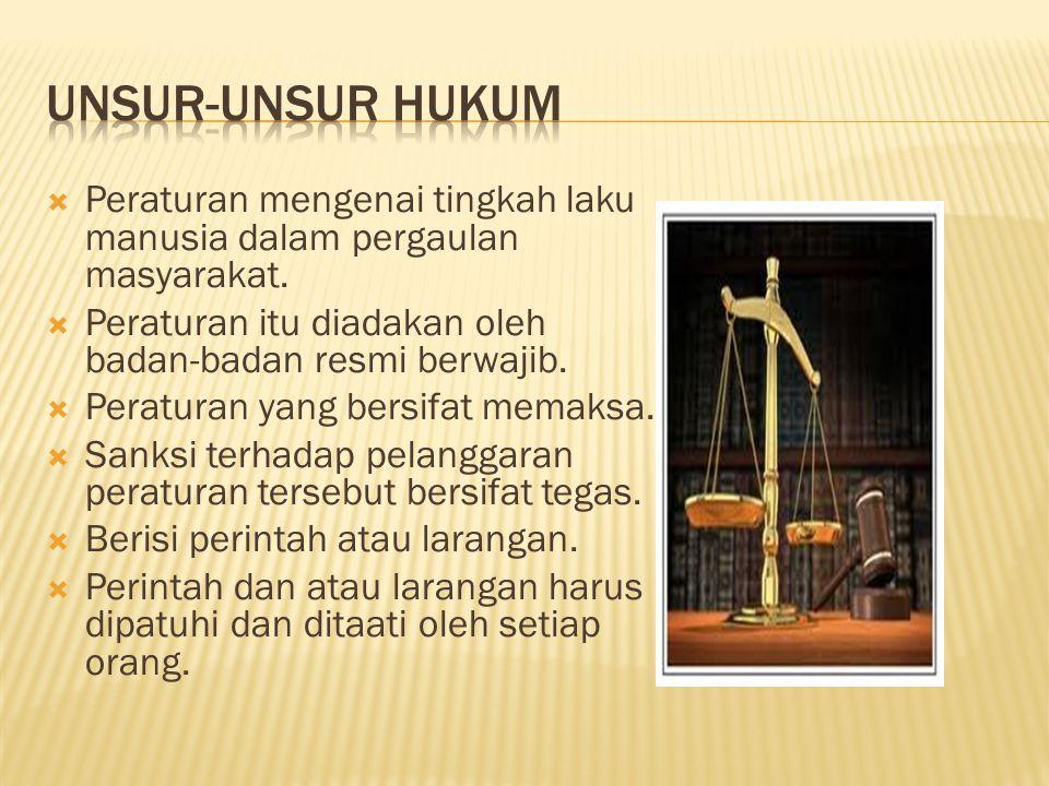  Peraturan mengenai tingkah laku manusia dalam pergaulan masyarakat.  Peraturan itu diadakan oleh badan-badan resmi berwajib.  Peraturan yang bersi