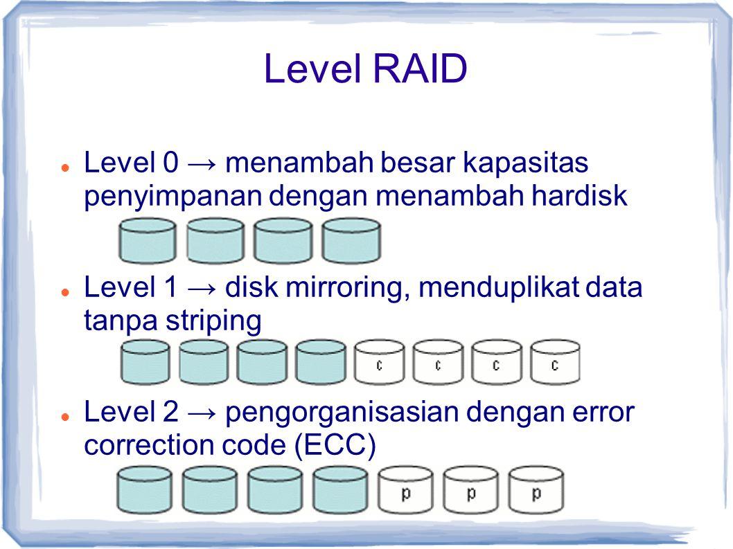 Level RAID Level 0 → menambah besar kapasitas penyimpanan dengan menambah hardisk Level 1 → disk mirroring, menduplikat data tanpa striping Level 2 →