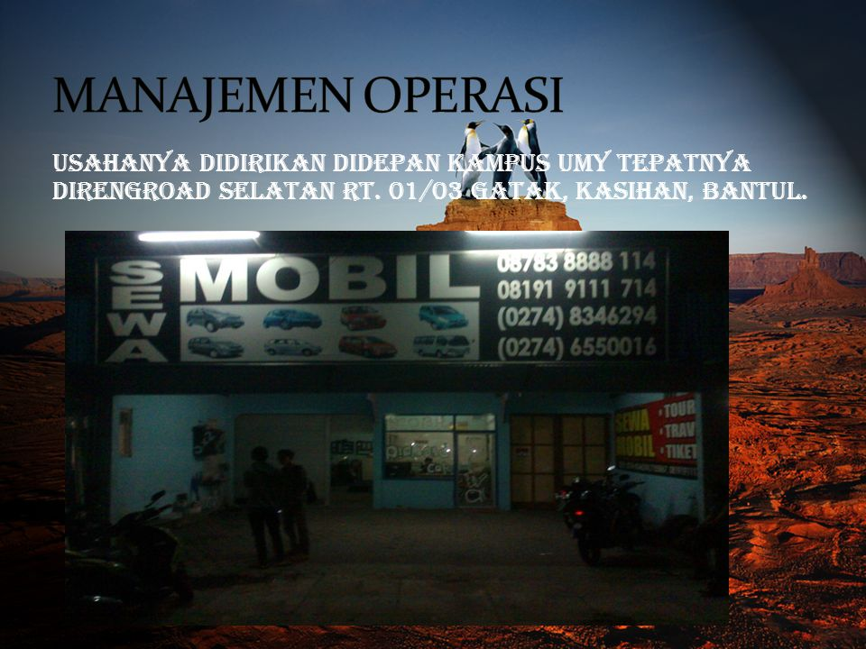 usahanya didirikan didepan kampus umy tepatnya direngroad selatan rt. 01/03 Gatak, Kasihan, Bantul.