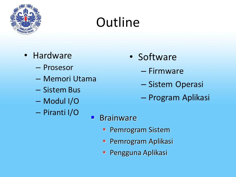 Outline Hardware – Prosesor – Memori Utama – Sistem Bus – Modul I/O – Piranti I/O Software – Firmware – Sistem Operasi – Program Aplikasi  Brainware