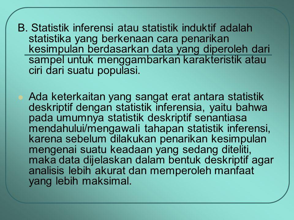 B. Statistik inferensi atau statistik induktif adalah statistika yang berkenaan cara penarikan kesimpulan berdasarkan data yang diperoleh dari sampel