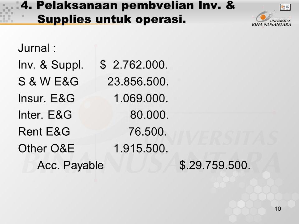 10 4. Pelaksanaan pembvelian Inv. & Supplies untuk operasi. Jurnal : Inv. & Suppl. $ 2.762.000. S & W E&G 23.856.500. Insur. E&G 1.069.000. Inter. E&G