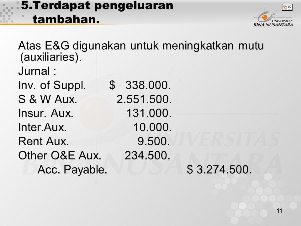 11 5.Terdapat pengeluaran tambahan. Atas E&G digunakan untuk meningkatkan mutu (auxiliaries). Jurnal : Inv. of Suppl. $ 338.000. S & W Aux. 2.551.500.
