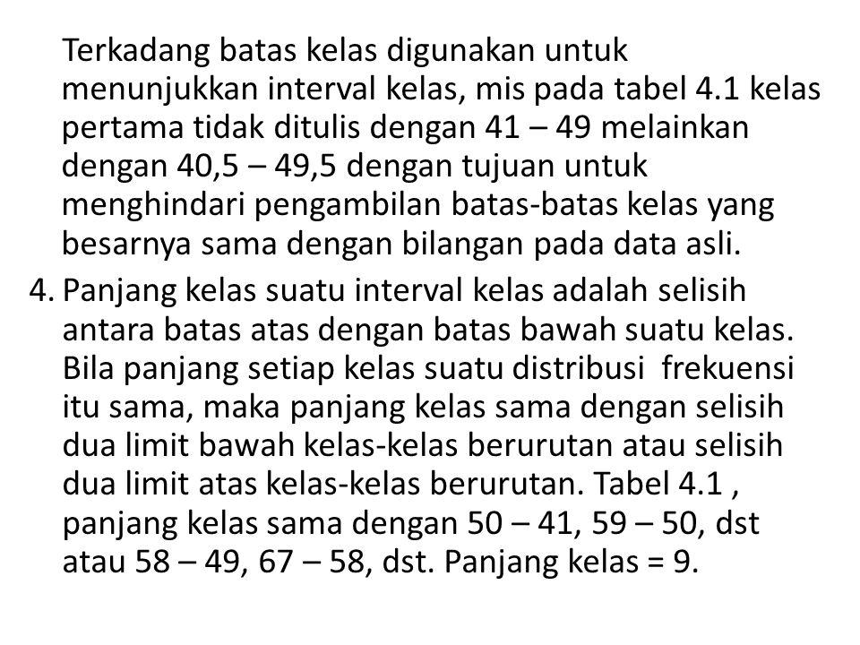 Terkadang batas kelas digunakan untuk menunjukkan interval kelas, mis pada tabel 4.1 kelas pertama tidak ditulis dengan 41 – 49 melainkan dengan 40,5