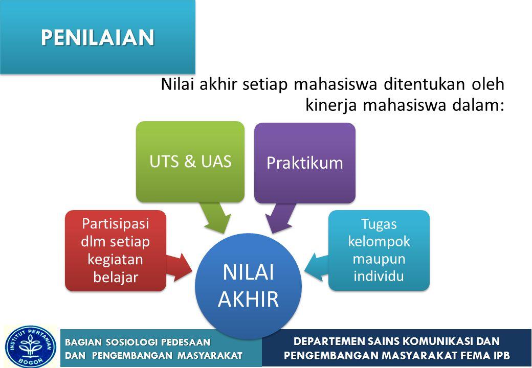 DEPARTEMEN SAINS KOMUNIKASI DAN PENGEMBANGAN MASYARAKAT FEMA IPB BAGIAN SOSIOLOGI PEDESAAN DAN PENGEMBANGAN MASYARAKAT Komposisi penilaian nilai akhir: UTS (30 Persen); UAS (35 Persen); Tugas-tugas, praktikum dan partisipasi kehadiran (35 Persen) PENILAIANPENILAIAN