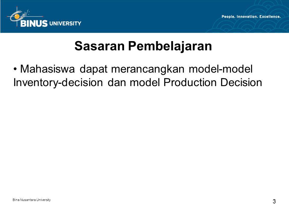 Bina Nusantara University 4 Pokok Bahasan Kasus : 1.Marketing Decision 2.Production Decision