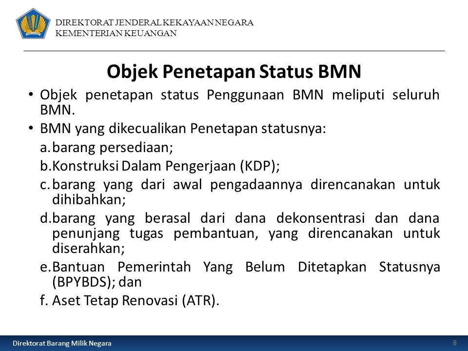 DIREKTORAT JENDERAL KEKAYAAN NEGARA KEMENTERIAN KEUANGAN Objek Penetapan Status BMN Objek penetapan status Penggunaan BMN meliputi seluruh BMN.