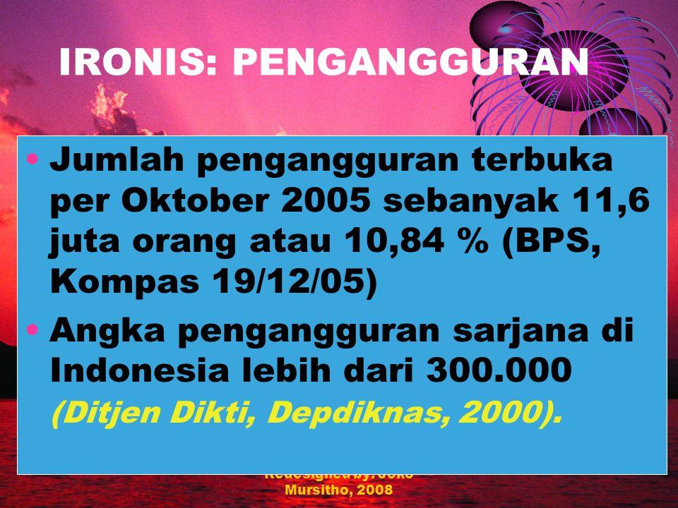 Redesigned by: Joko Mursitho, 2008 IRONIS: EKONOMI Pendapatan per capita Indonesia hanya 830 dolar AS (2002), jauh dari Thailand (US$ 1.987) atau Malaysia (US$ 3.400) yang juga sama-sama terkena krisis ekonomi 1997-98; Terdapat 62 juta jiwa (28,44 %) penduduk miskin (BPS, 2005).