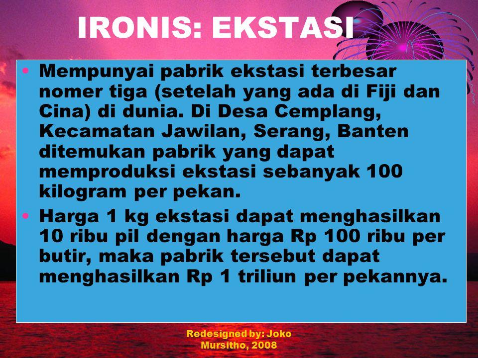 Redesigned by: Joko Mursitho, 2008 IRONIS: PENGANGGURAN Jumlah pengangguran terbuka per Oktober 2005 sebanyak 11,6 juta orang atau 10,84 % (BPS, Kompas 19/12/05) Angka pengangguran sarjana di Indonesia lebih dari 300.000 (Ditjen Dikti, Depdiknas, 2000).