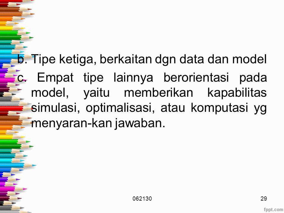 b.Tipe ketiga, berkaitan dgn data dan model c.