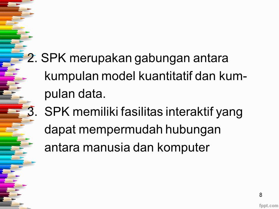 Ciri-ciri SPK Menurut Sudirman dan Wijayanti (1996), ada 4 ciri-ciri SPK : 1.