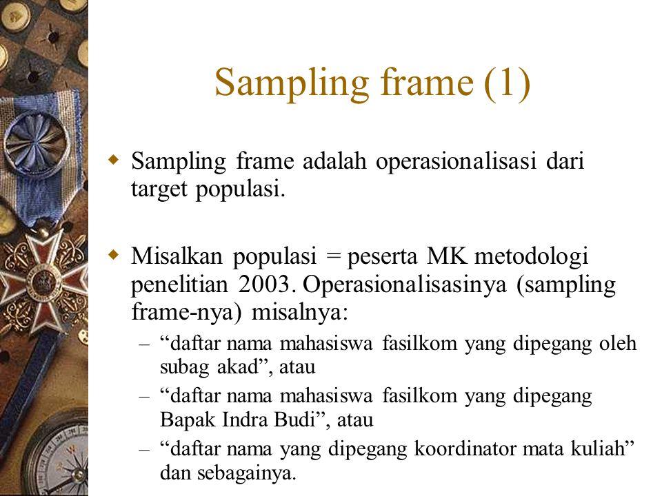 Sampling frame (1)  Sampling frame adalah operasionalisasi dari target populasi.