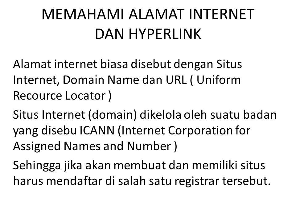 MEMAHAMI ALAMAT INTERNET DAN HYPERLINK Penulisan dalam address bar harus tepat.