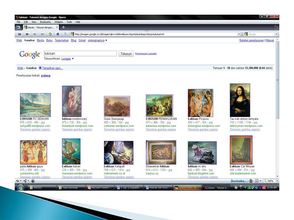 Menyimpan informasi dari internet bisa berupa halaman web atau gambar.