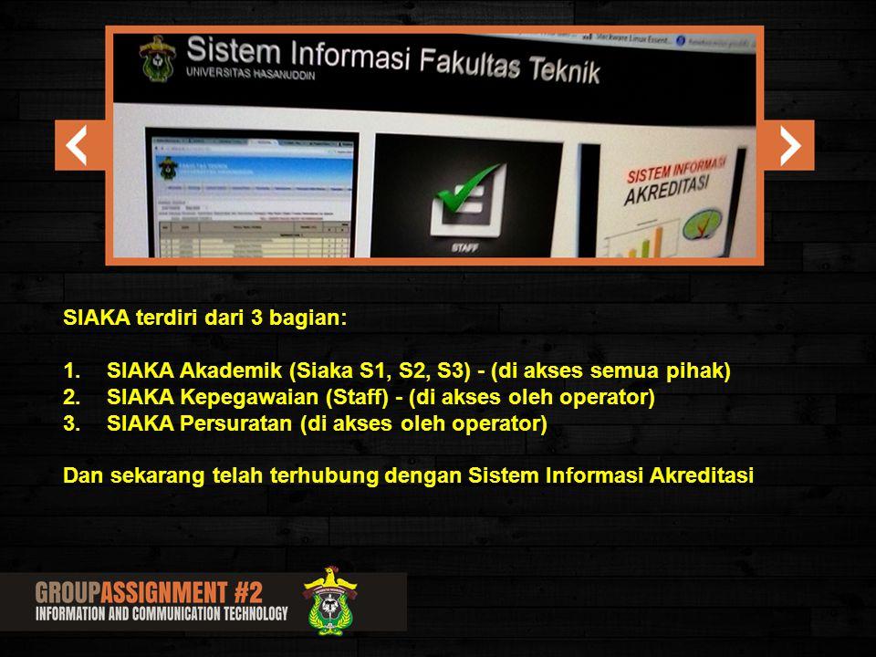 SIAKA terdiri dari 3 bagian: 1.SIAKA Akademik (Siaka S1, S2, S3) - (di akses semua pihak) 2.SIAKA Kepegawaian (Staff) - (di akses oleh operator) 3.SIA