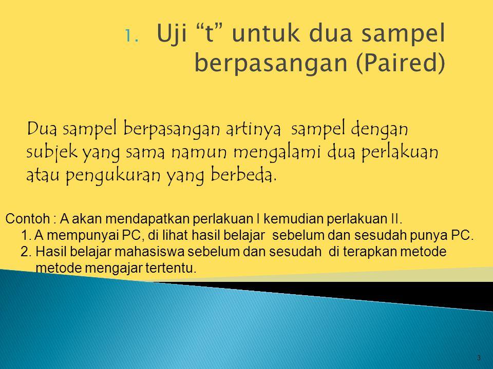 """1. Uji """"t"""" untuk dua sampel berpasangan (Paired) 3 Dua sampel berpasangan artinya sampel dengan subjek yang sama namun mengalami dua perlakuan atau pe"""